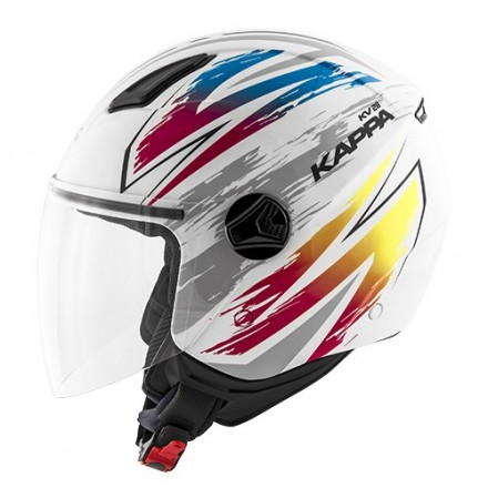 Casco Demi-jet Kappa KV28 Miami Bolt Bianco Mix